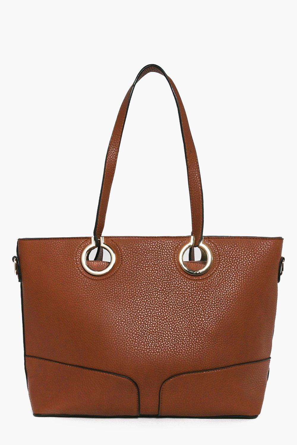 Metal Ring Detail Large Day Bag tan