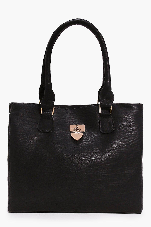 Heart Metal Detail Day Bag black