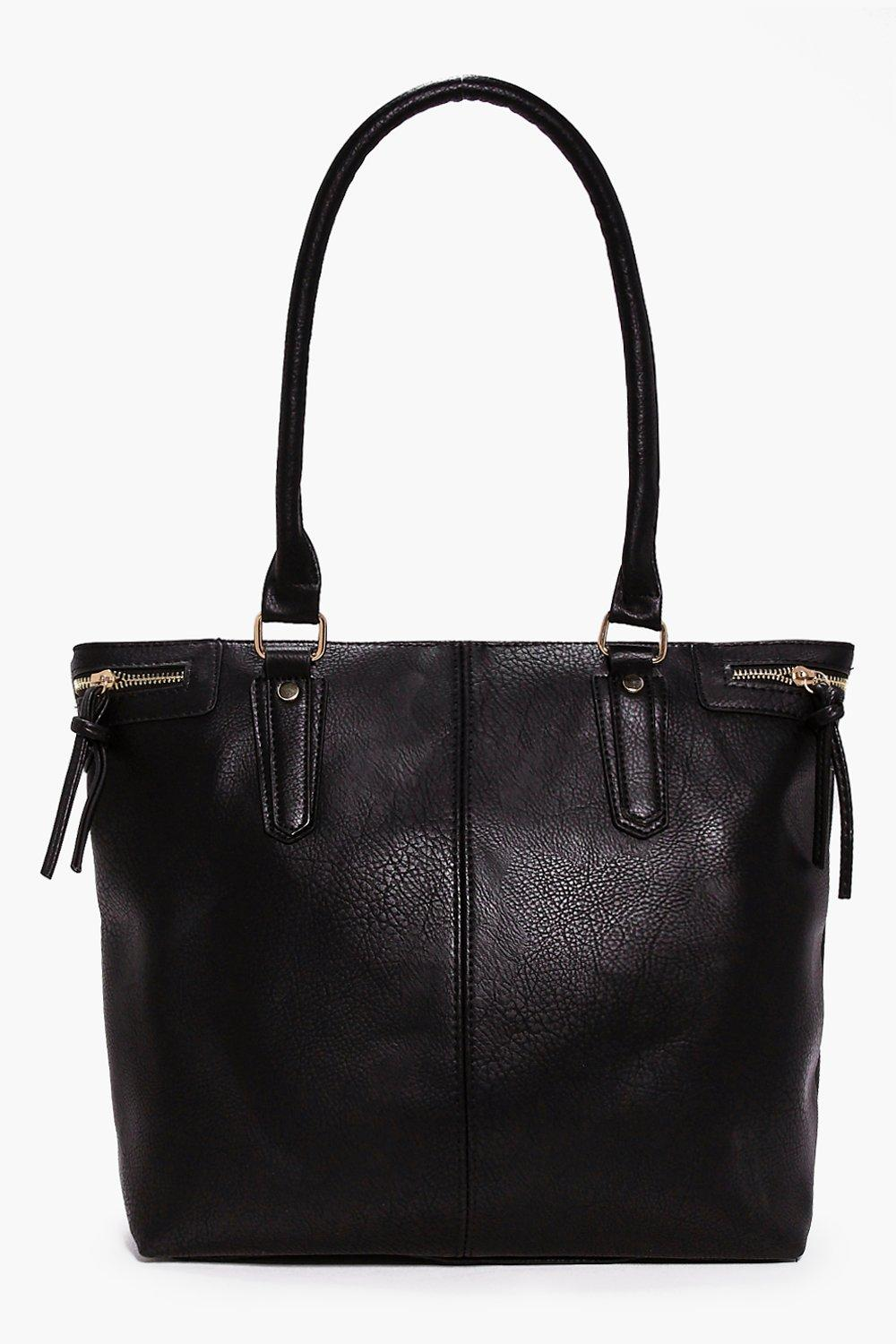 Zip Detail Day Bag black