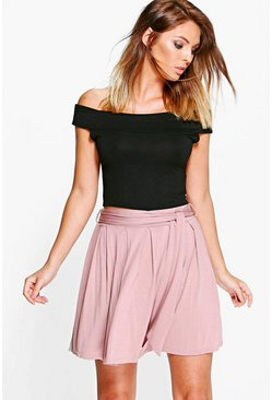 Amaya Tie Waist Pleated Jersey Skater Skirt