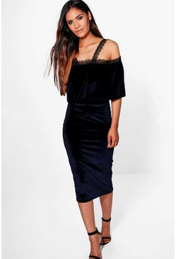 Larisa Velvet Crochet Trim Tiered Midi Dress