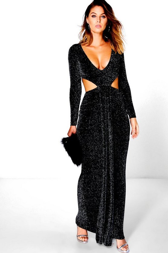Leonie Plunge with Cut Outs Maxi Dress