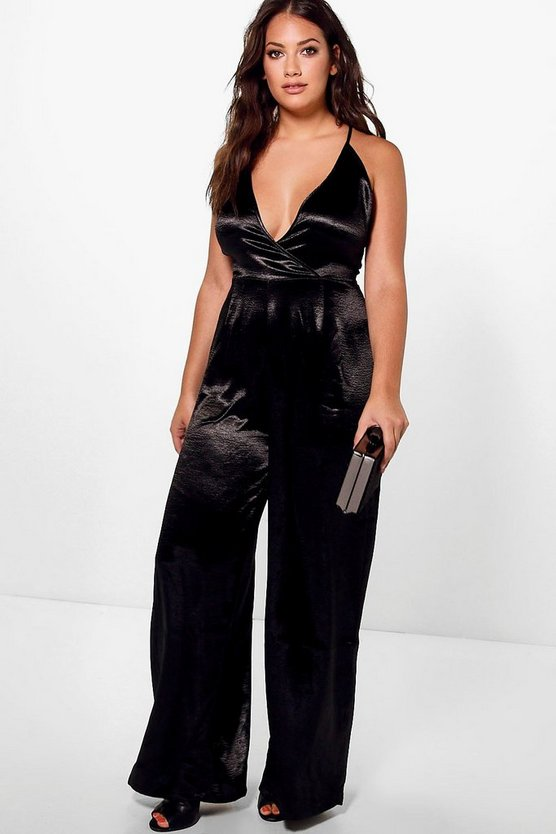 Jordyn Satin Wrap Front Strappy Jumpsuit