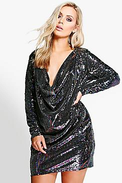 Jordyn All Over Sequin Cowl Front Dress