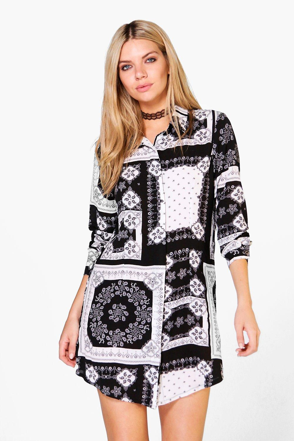 Bianca Long Sleeve Paisley Shirt Dress