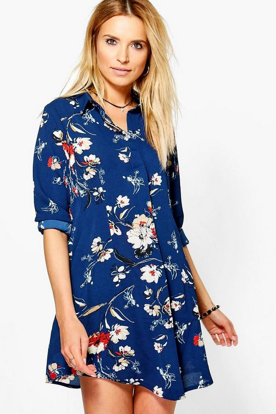 Mary Long Sleeve Floral Shirt Dress