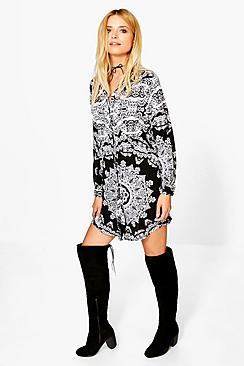 Kerry Paisley Long Sleeved Shirt Dress