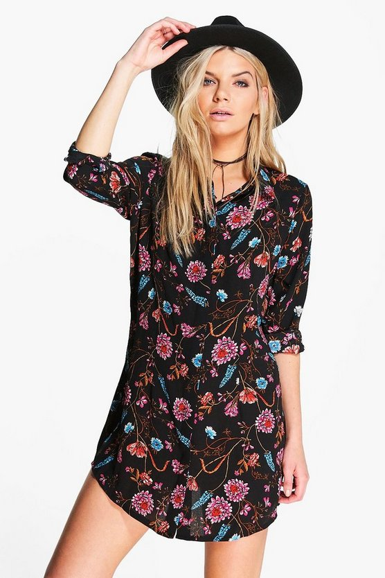 Alia Long Sleeve Floral Print Shirt Dress