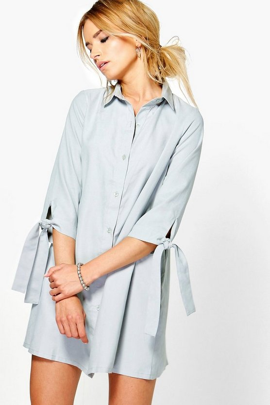 Emma Tie Sleeve Shirt Dress