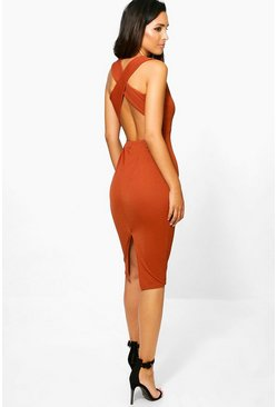 Iris Cross Back Midi Bodycon Dress