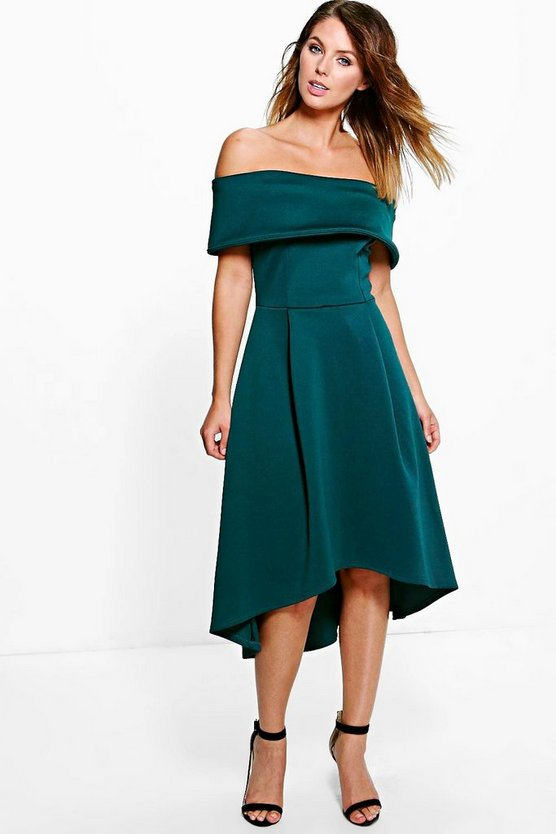 Rella Off Shoulder Dip Hem Skater Dress