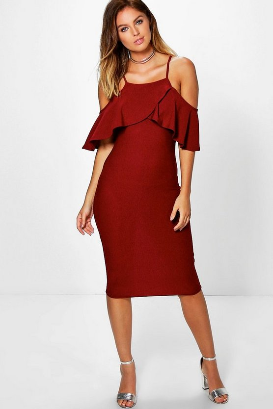 Cold Shoulder Frill Detail Midi Dress