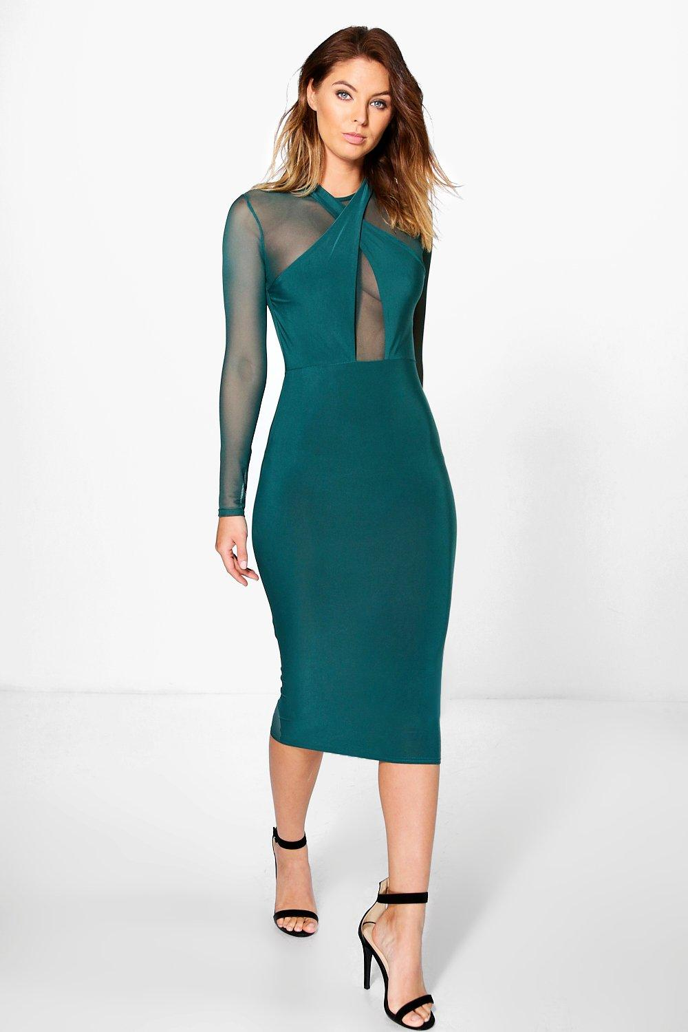 Karlie Mesh Slinky Wrap Bodycon Dress