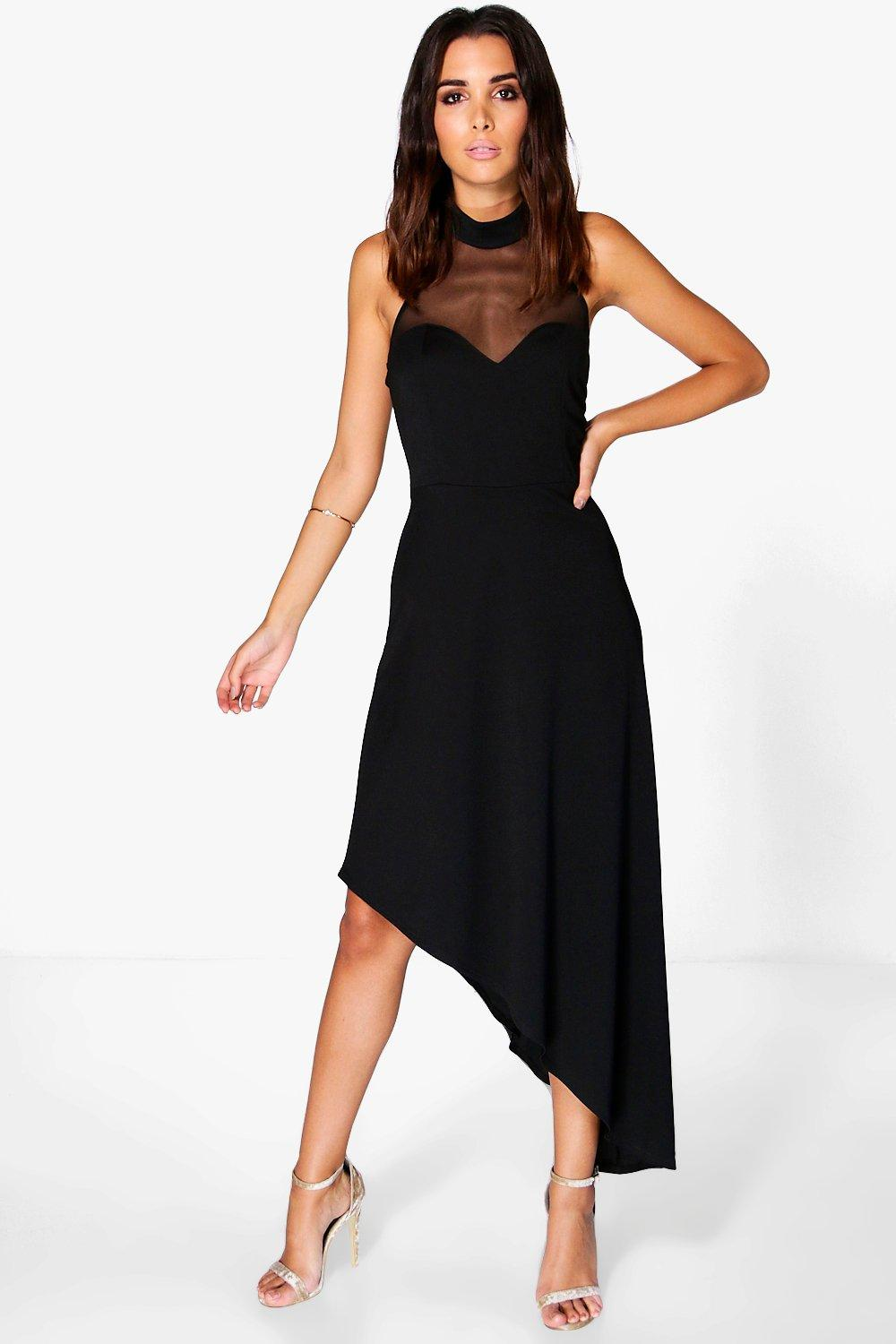 Syd Slinky Mesh Insert Asymmetric Maxi Dress