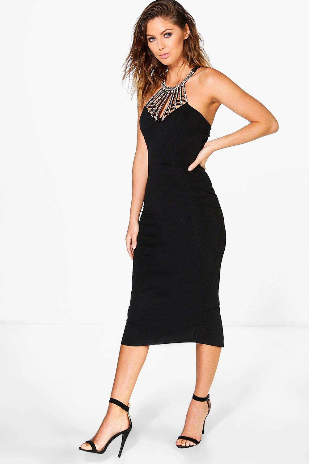 Jodie Embellished Neck Trim Midi Dress