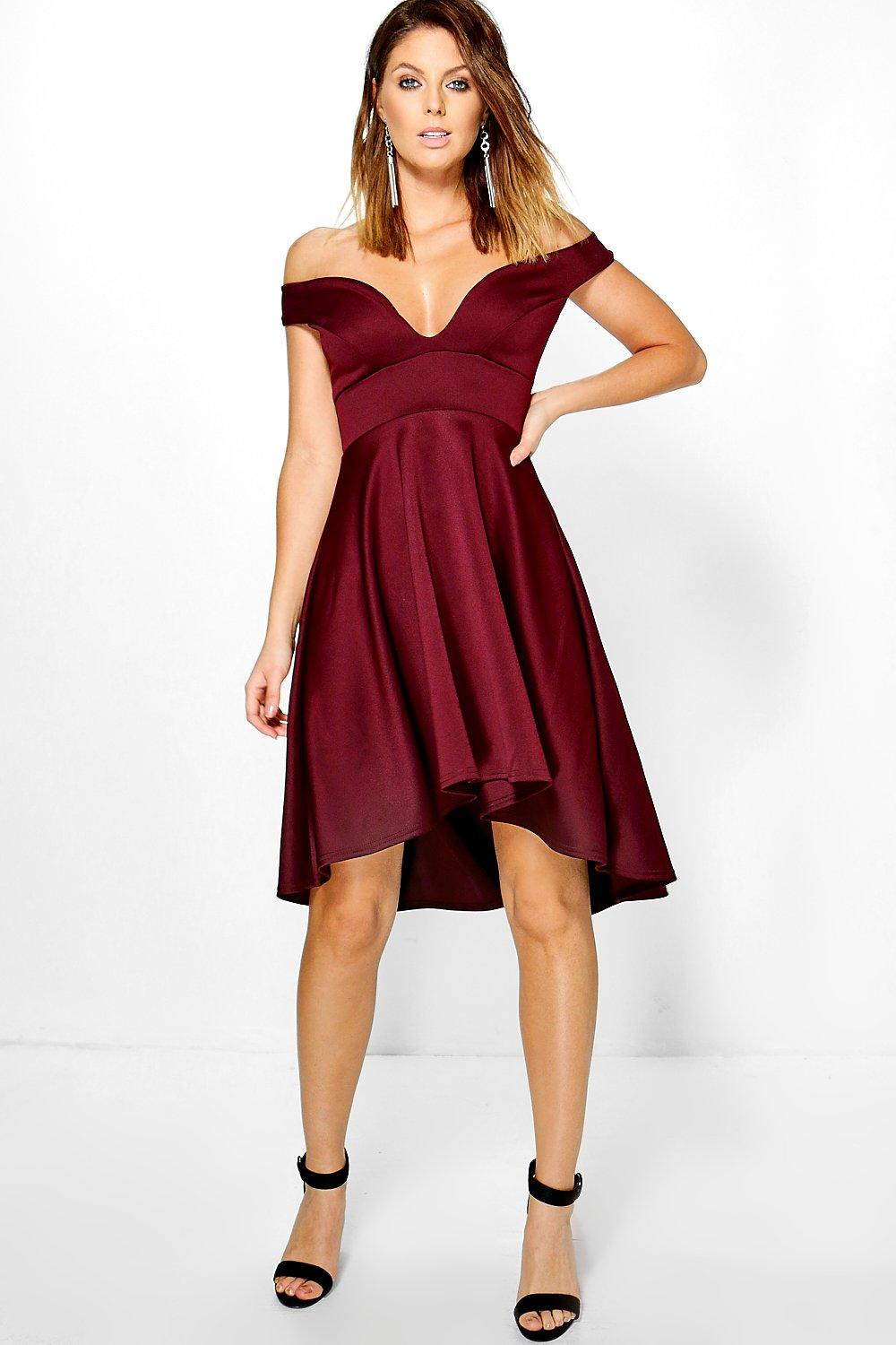 Oana Off Shoulder Sweetheart Skater Dress