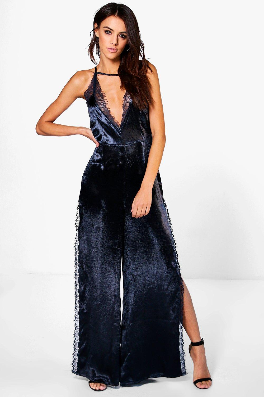 Zora Strappy Lace Detail Satin Jumpsuit
