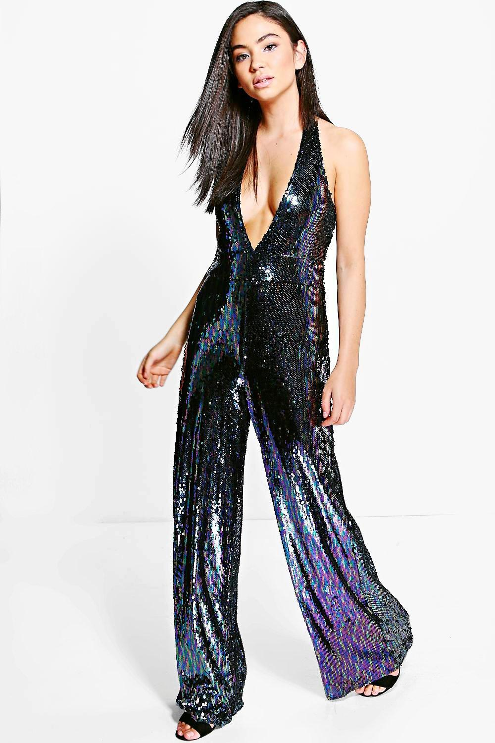 Lois All Over Sequin Halter Neck Jumpsuit