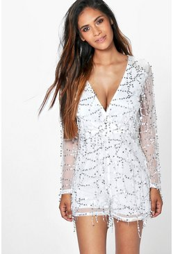 Laura Drop Sequin Plunge Neck Playsuit