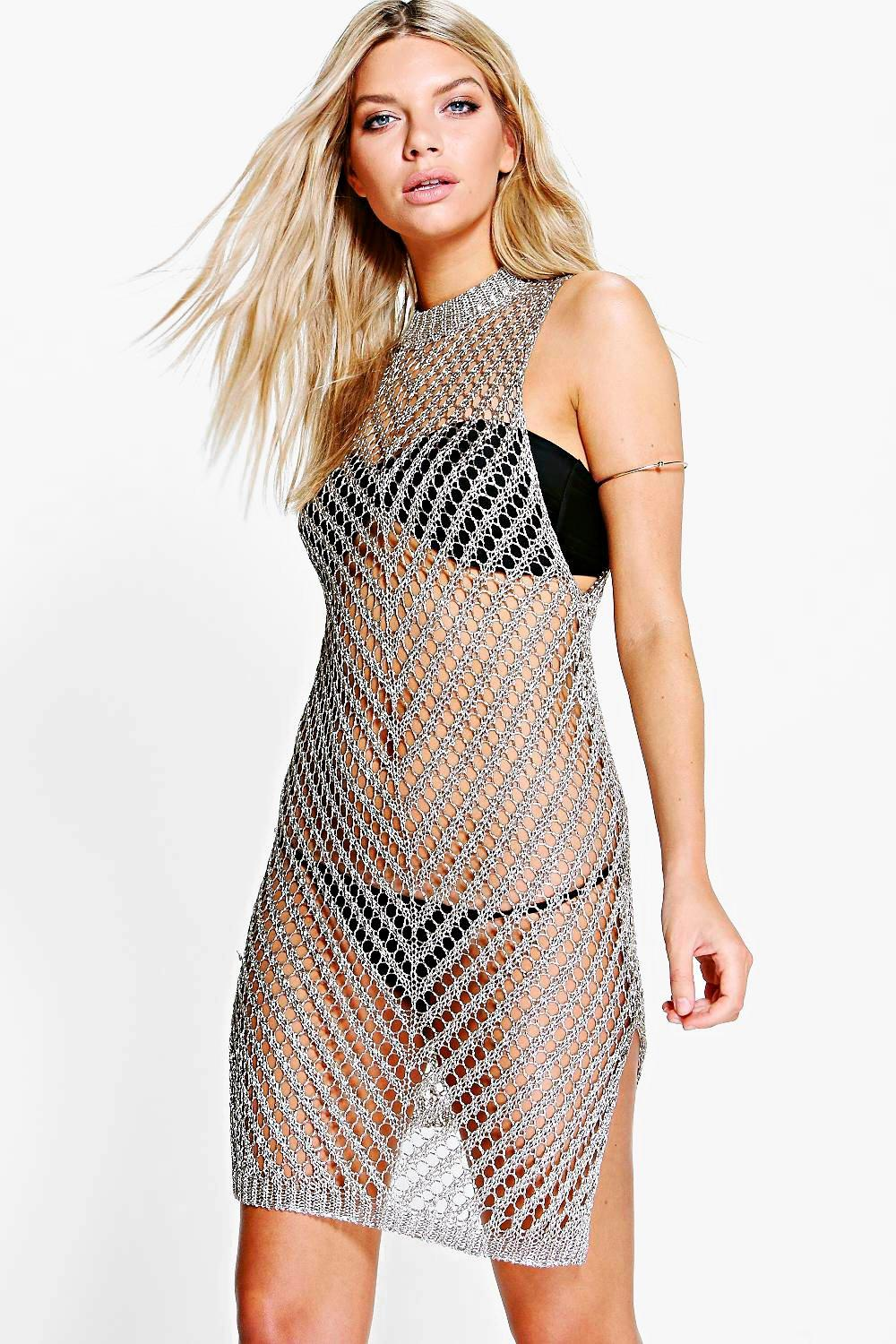 Boutique Matilda Metallic Knit Beach Dress