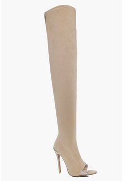 Darcy Thigh High Clear Insert Boot
