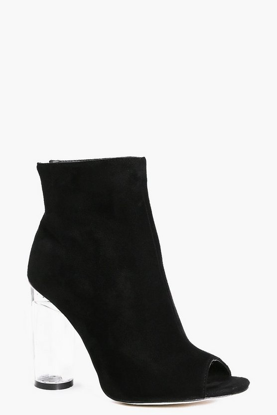 Angel Clear Heel Peeptoe Shoe Boot