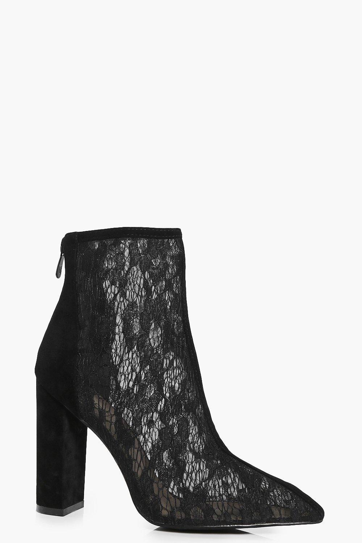 Lara Pointed Lace Block Heel Boot