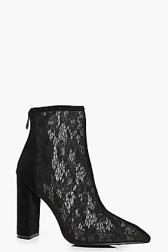 Lara Pointed Lace Block Heel Boot