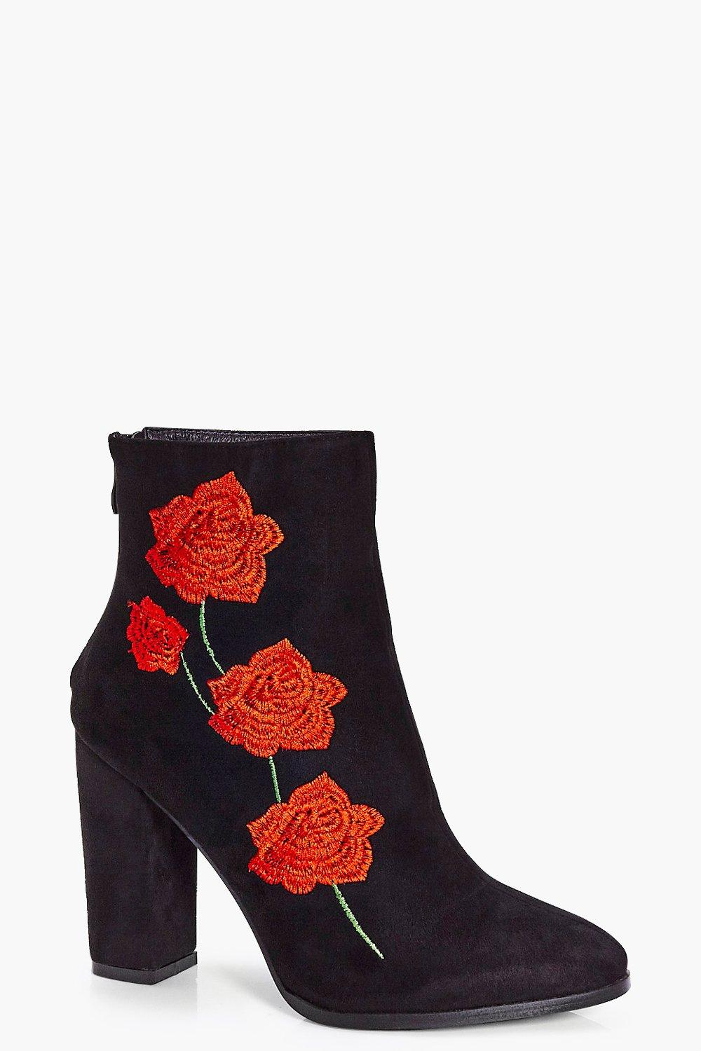 Bella Floral Stitch Block Heel Boot