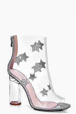 Daisy Glitter Star Trim Clear Boot