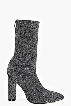 Tilly Metallic Knitted Pointed Sock Boot