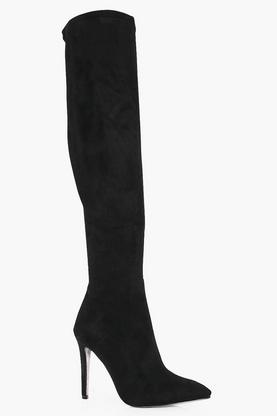 Rose Thigh High Glitter Sole Pointed Boot