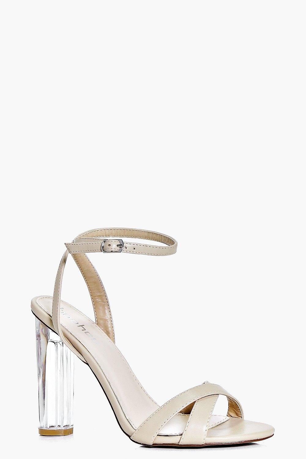 Jess Cross Strap Clear Heel Two Part