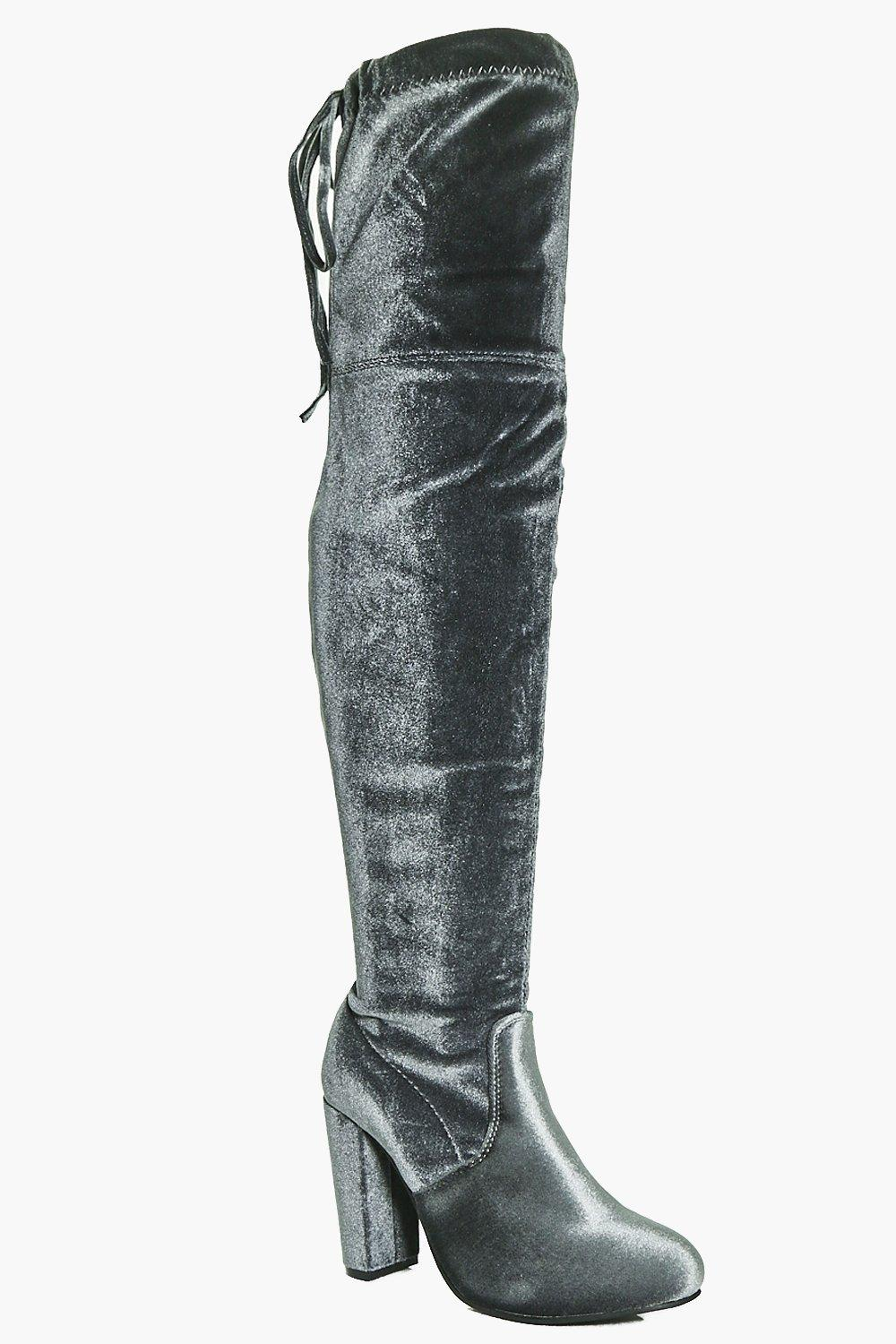 Frances Velvet Thigh High Block Heel Boot