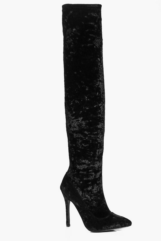 Keira Velvet Thigh High Pointed Boot