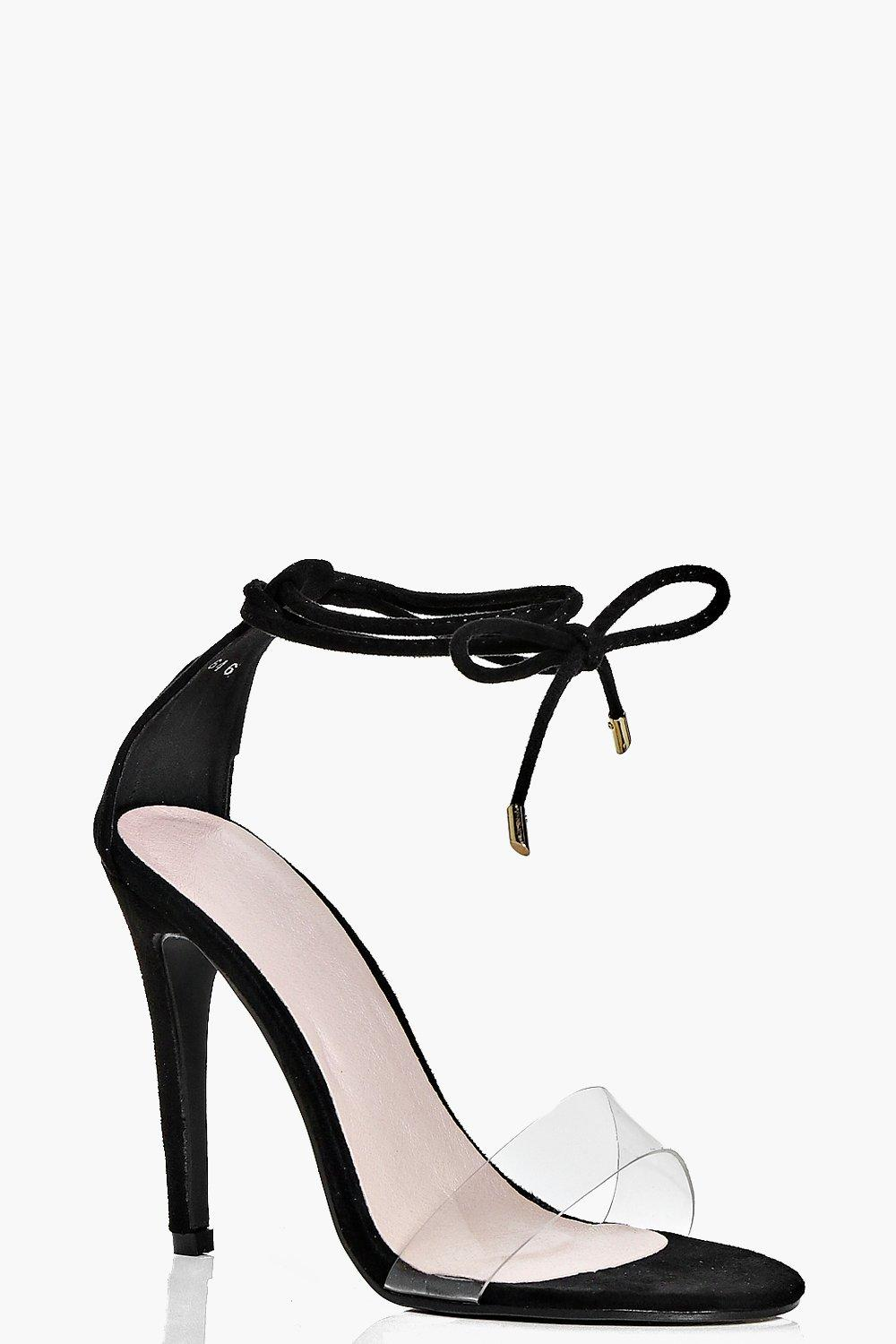 Ivy Clear Strap Ankle Wrap Two Part Heels