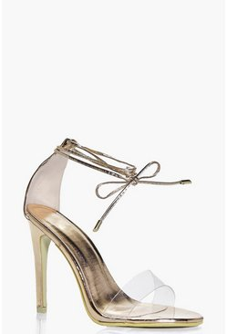 Zoe Clear Strap Ankle Wrap Two Part Heels