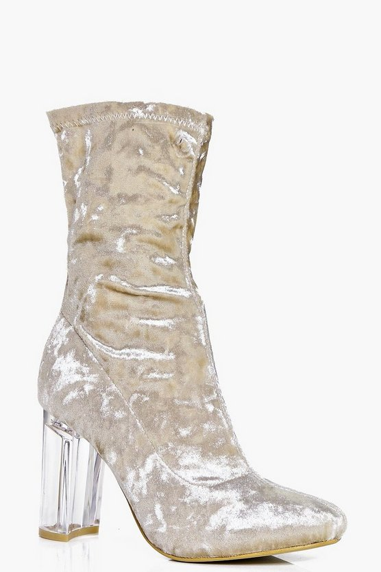 Willow Velvet Clear Heel Sock Boot