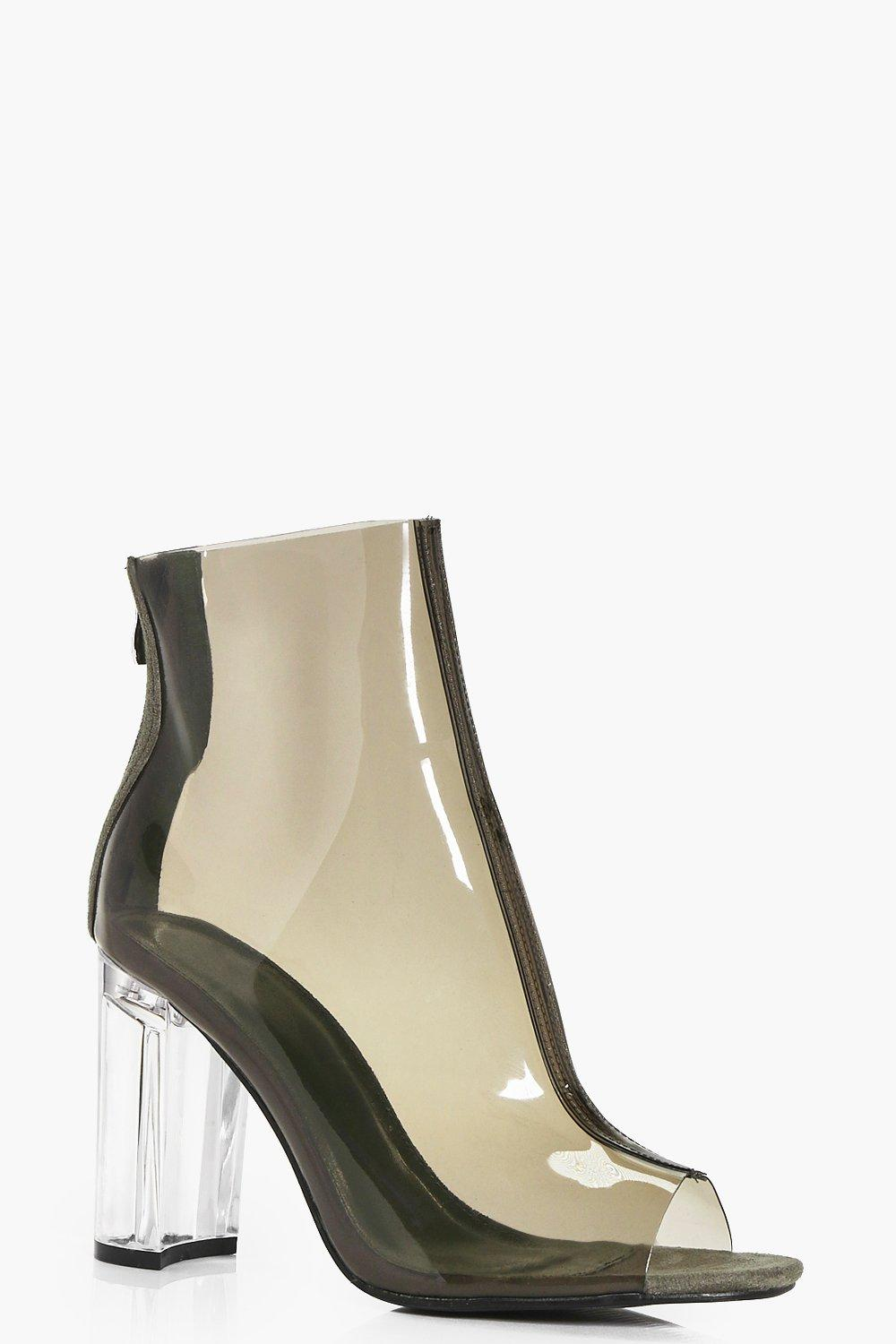 Isabel Clear Cylinder Heel Ankle Boot