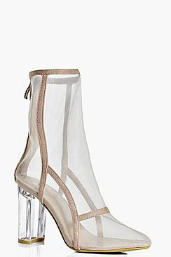 Bethany Clear Cylinder Heel Mesh Shoe Boot