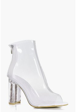 Maria Glitter Insert Cylinder Clear Boot