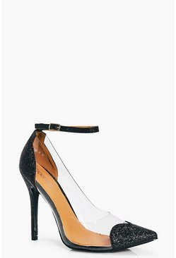 Clara Ankle Band Clear Side Heart Detail Court