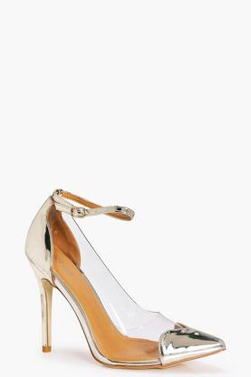 Violet Ankle Band Clear Side Heart Detail Court