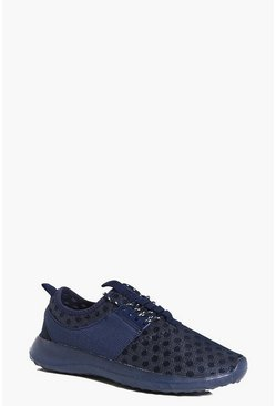 Lilly Polka Mesh Lace Up Trainer