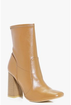 Daisy Block Heel Square Toe Sock Boot