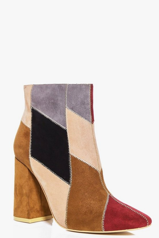 Faye Patch Work Faux Suede Block Heel Boot