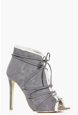 Jess Peeptoe Shearling Lined Shoe Boot