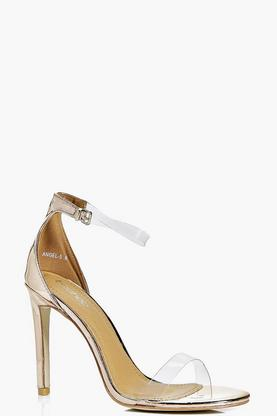 Amelia Metallic Clear Strap Two Part Sandal