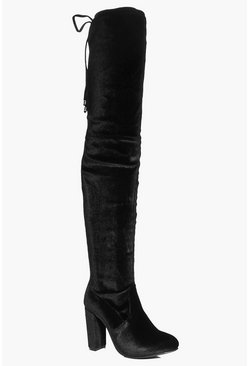 Sadie Velvet Tie Back Over The Knee Boot