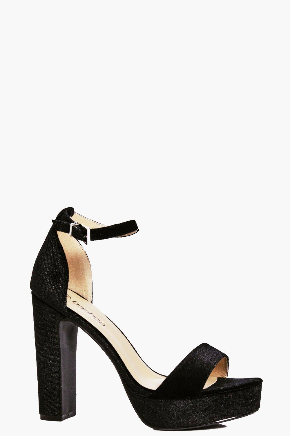 Leah Velvet Block Two Part Heels